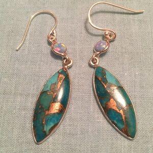 Sterling Silver Copper Turquoise & Opal Earrings